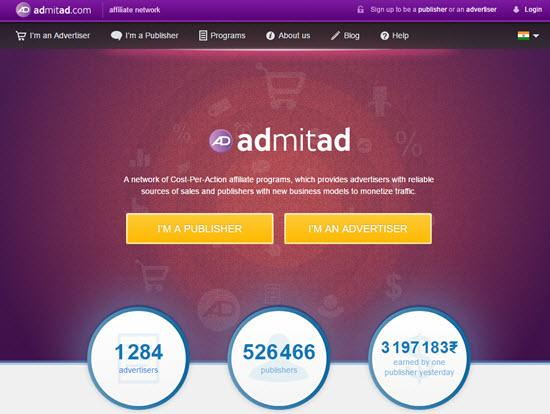 Admitad India affiliate network