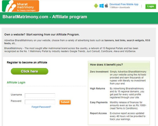 BharatMatrimony Affiliate Program India