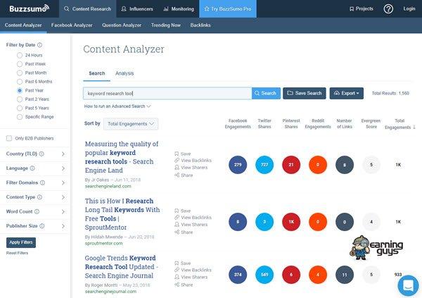BuzzSumo Keyword Research Tool