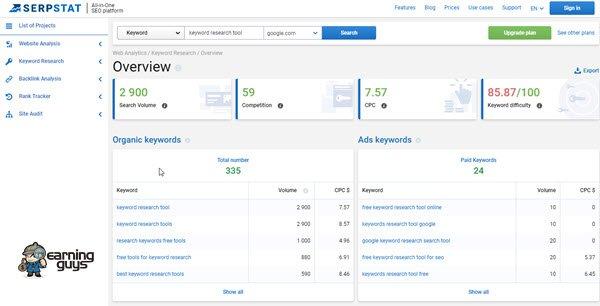 Serpstat Keyword Research Tool