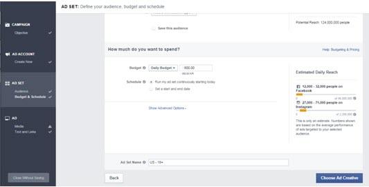 FB ads Budget & Schedule