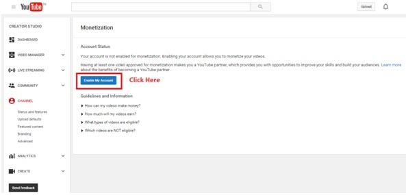 Activate YouTube Monetisation