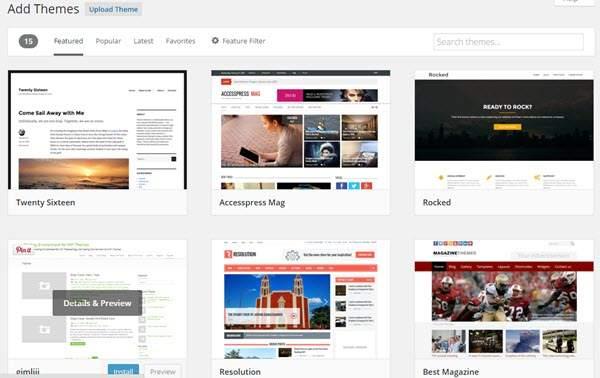 Add New WordPress Theme