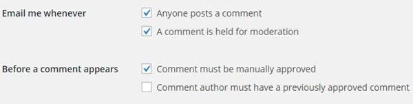 WordPress Blog Comment Setting