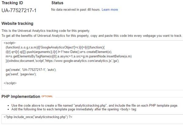 Google Analytics Tracking Code setup
