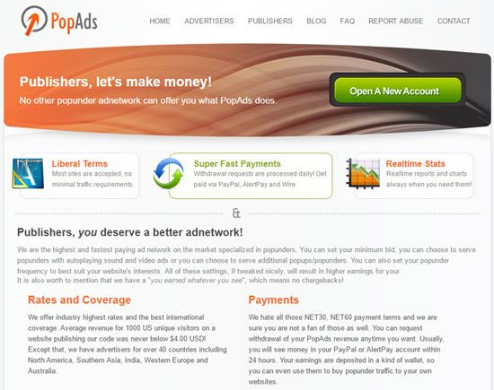 PopAds PopUp Ad Network