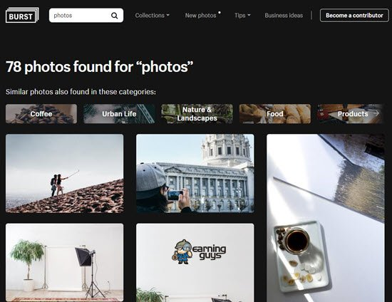 Burst free stock images
