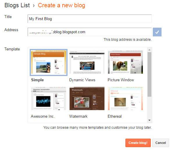 URL for your blog - Create A Blog On Blogger