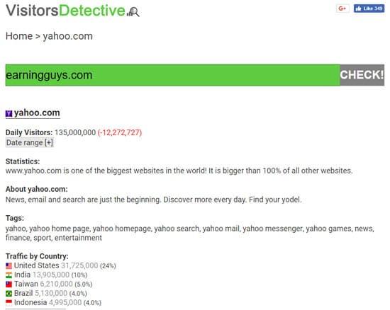 VisitorsDetective check website traffic