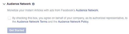 Facebook Audience Network Account