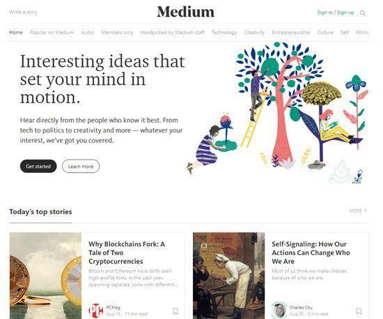 Medium free blog platform