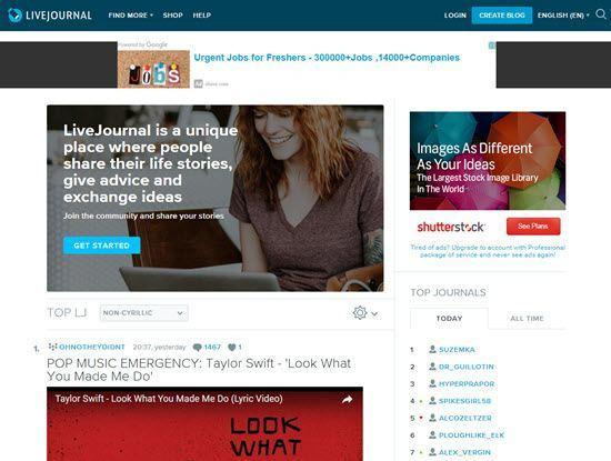 LiveJournal free blogging platforms