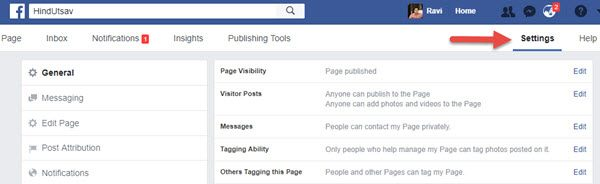 FB page Settings