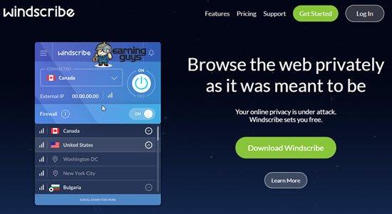 Windscribe VPN Service Provider