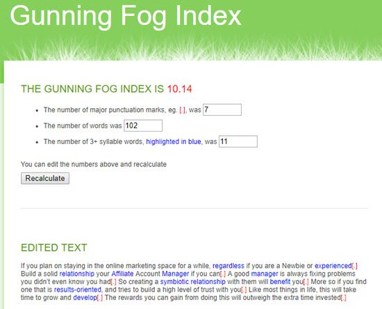 Gunning Fog Index Readability Score Checker