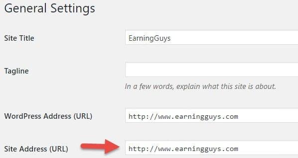 WordPress SEO: Site URL
