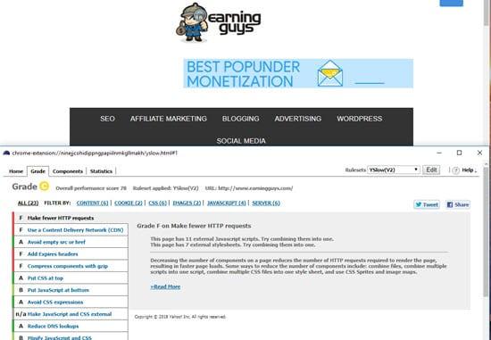 Yslow website speed test tools