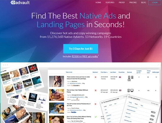 Advault Native Ads Spy Software