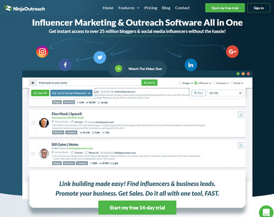 NinjaOutreach Influencer Marketing Software