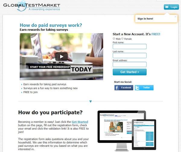 Global Test Market Paid Survey Sites
