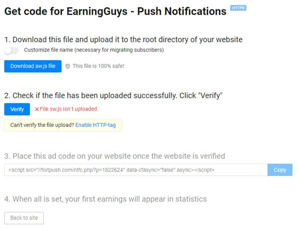Push Notifications Publisher Ad