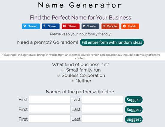 Name Generator Business Name Generators