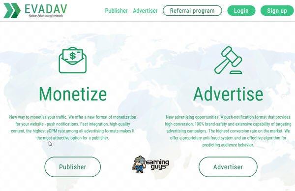 Evadav Push Notification Ad Network
