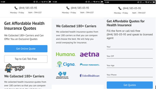 Pay per call Health campaign Mobile Landing