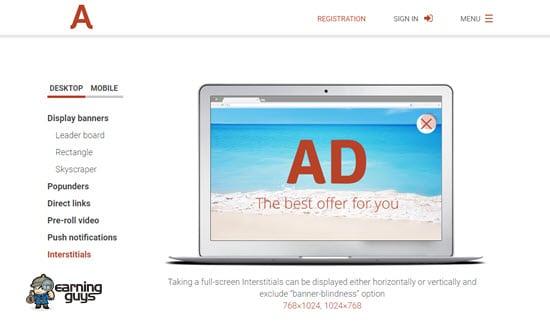 Adsterra Interstitial Ads Network