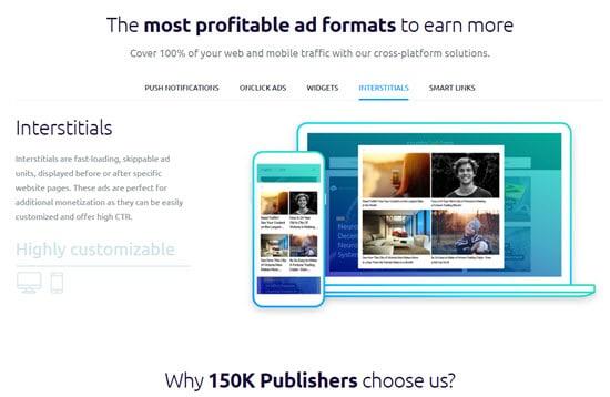 PropellerAds Interstitial Ads Network