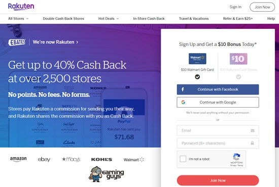 Ebates money earning app