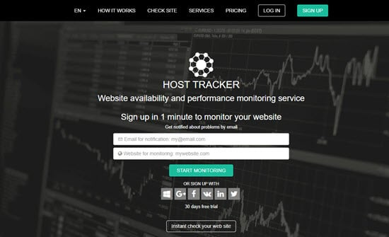 Host Tracker website downtime monitoring