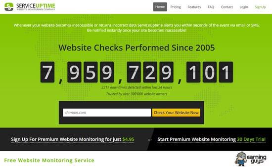 Service Uptime check website downtime