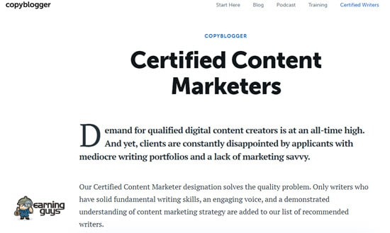 Copyblogger Certified Content Marketer