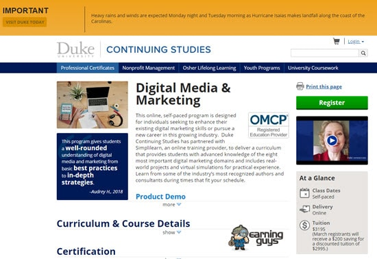 Duke Digital Media Certification
