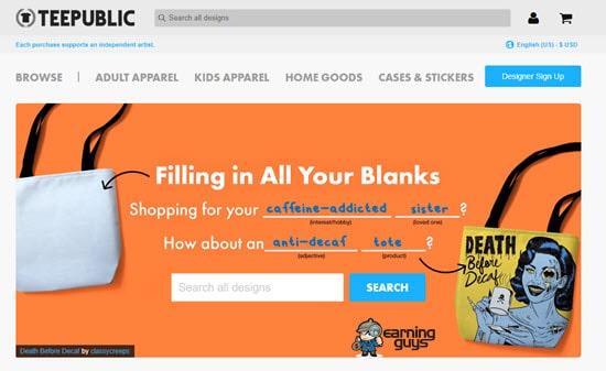 TeePublic T-Shirt Printing Site