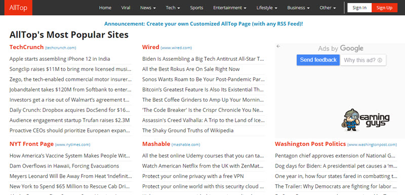 AllTop Blog Submission Sites