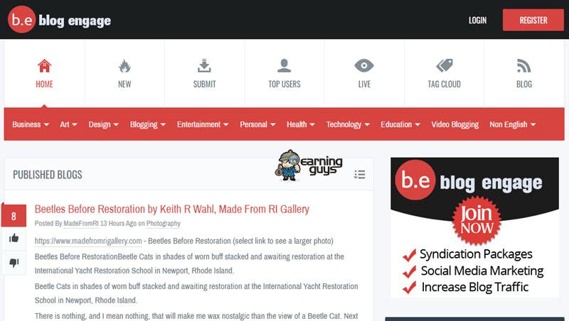 Blog Engage Blog Submission Webite